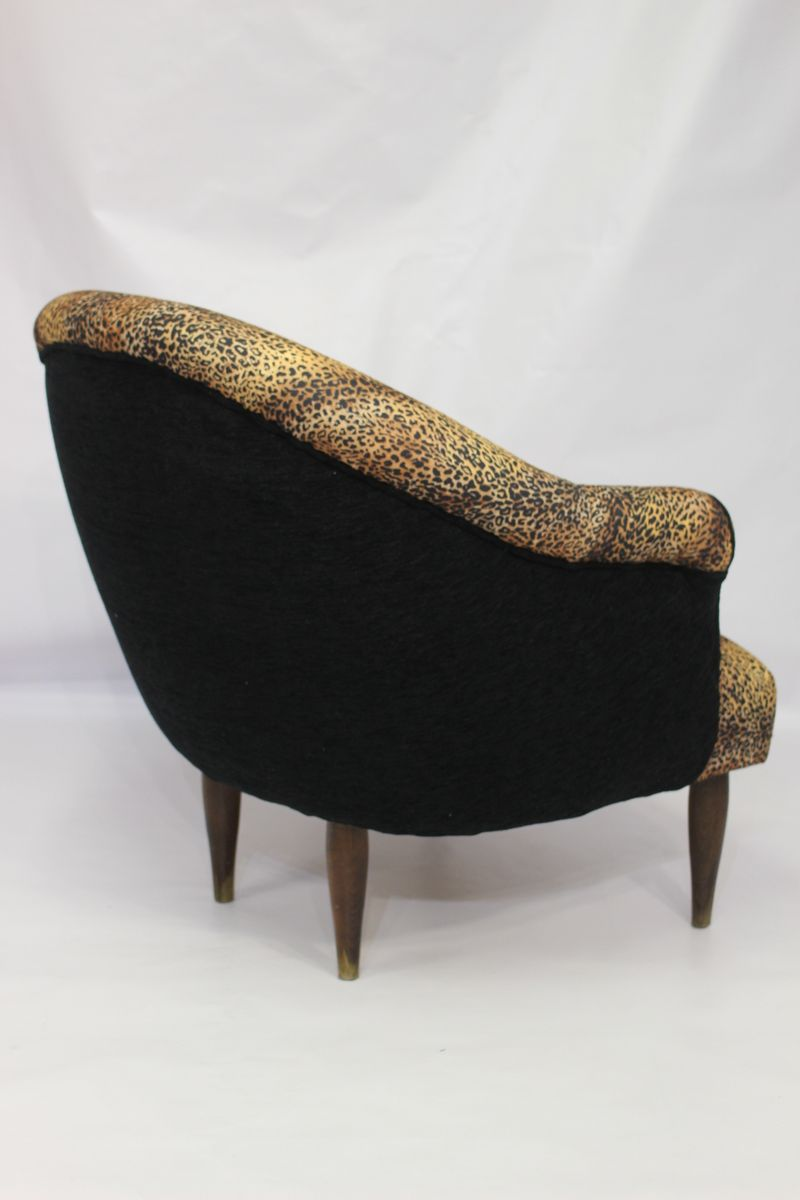 Vintage Armchair In Leopard Fabric