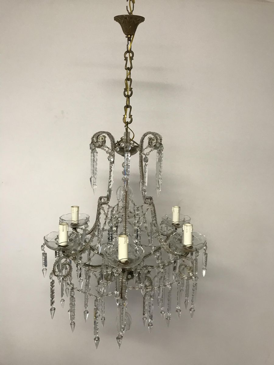 Vintage crystal beaded chandelier for sale at pamono vintage crystal beaded chandelier aloadofball Choice Image