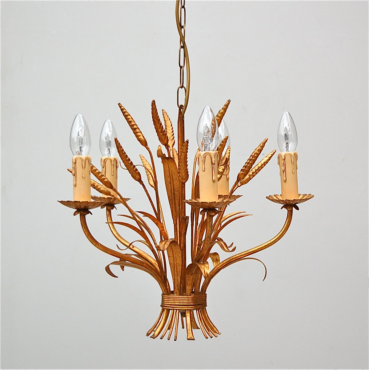 Italian sheaf of wheat tole chandelier 1970s for sale at pamono italian sheaf of wheat tole chandelier 1970s mozeypictures Image collections