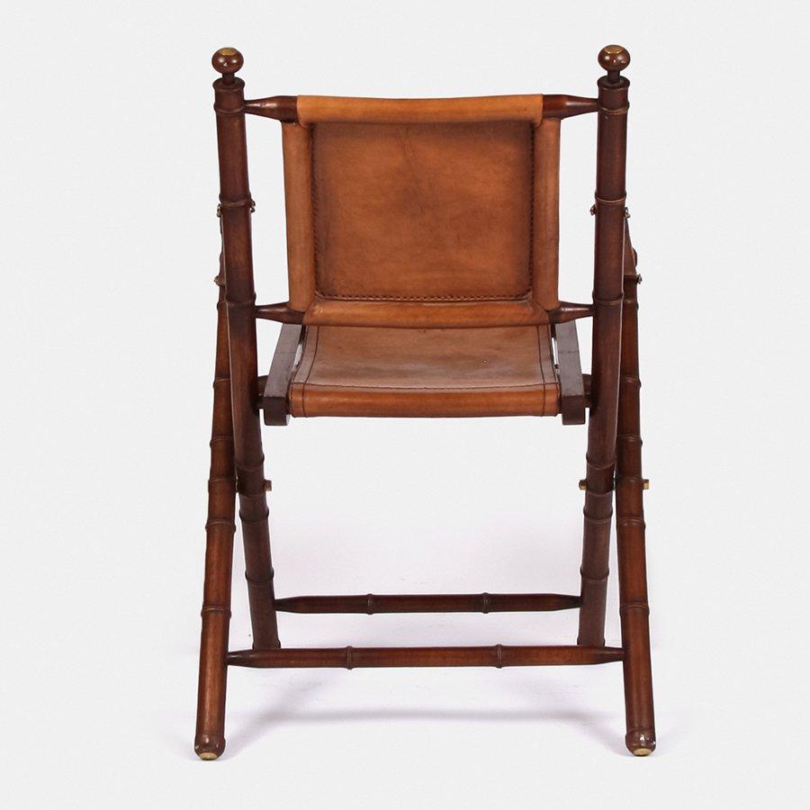 Chaise Pliable en Cuir et Bambou 1980s en vente sur Pamono