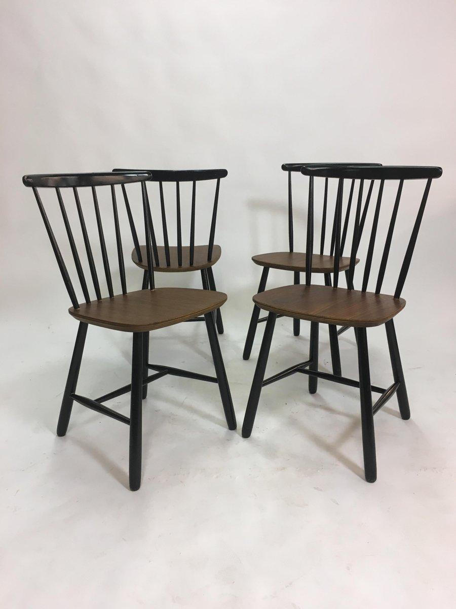 Enjoyable Vintage Scandinavian Spindle Back Dining Chairs 1950S Set Of 4 Forskolin Free Trial Chair Design Images Forskolin Free Trialorg