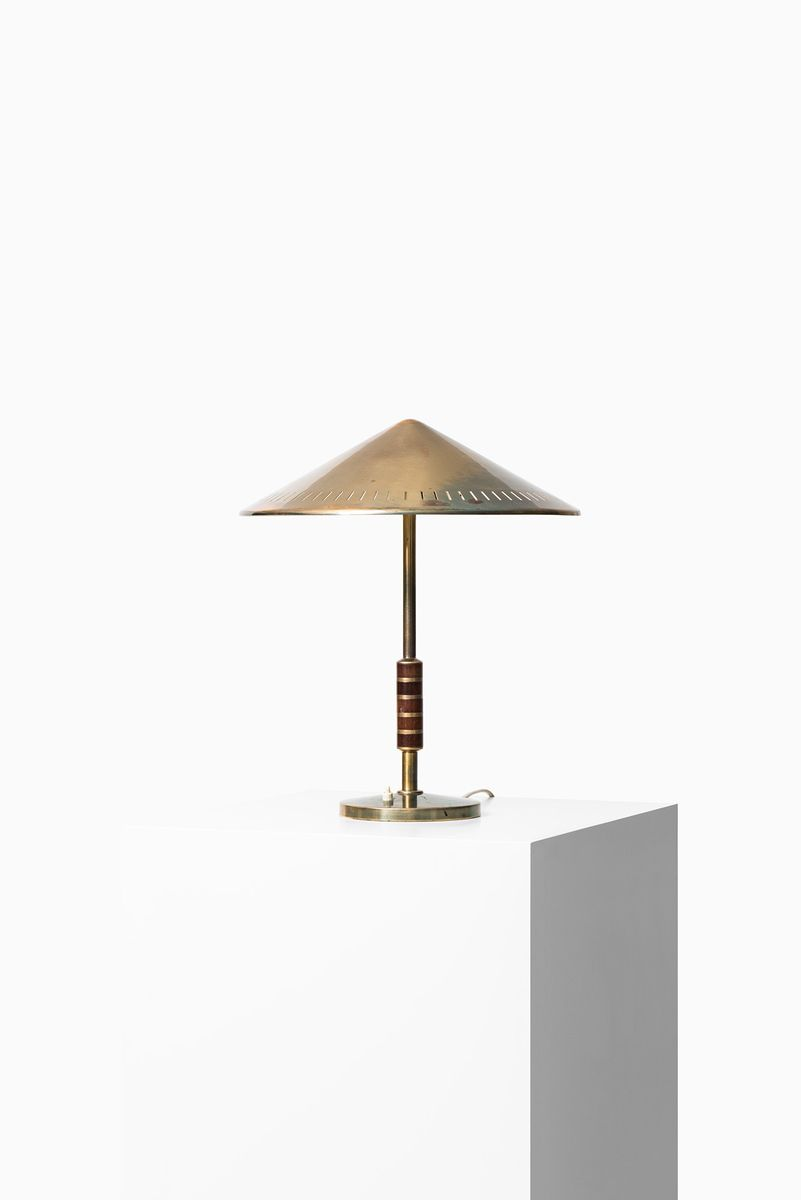 Brass U0026 Mahogany Table Lamp, 1960s