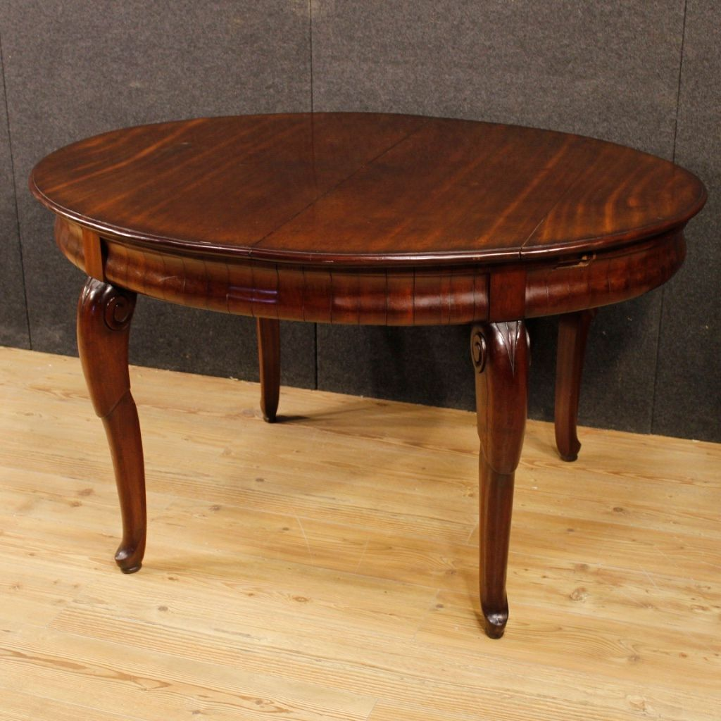 Vintage French Mahogany Dining Table, 1930s
