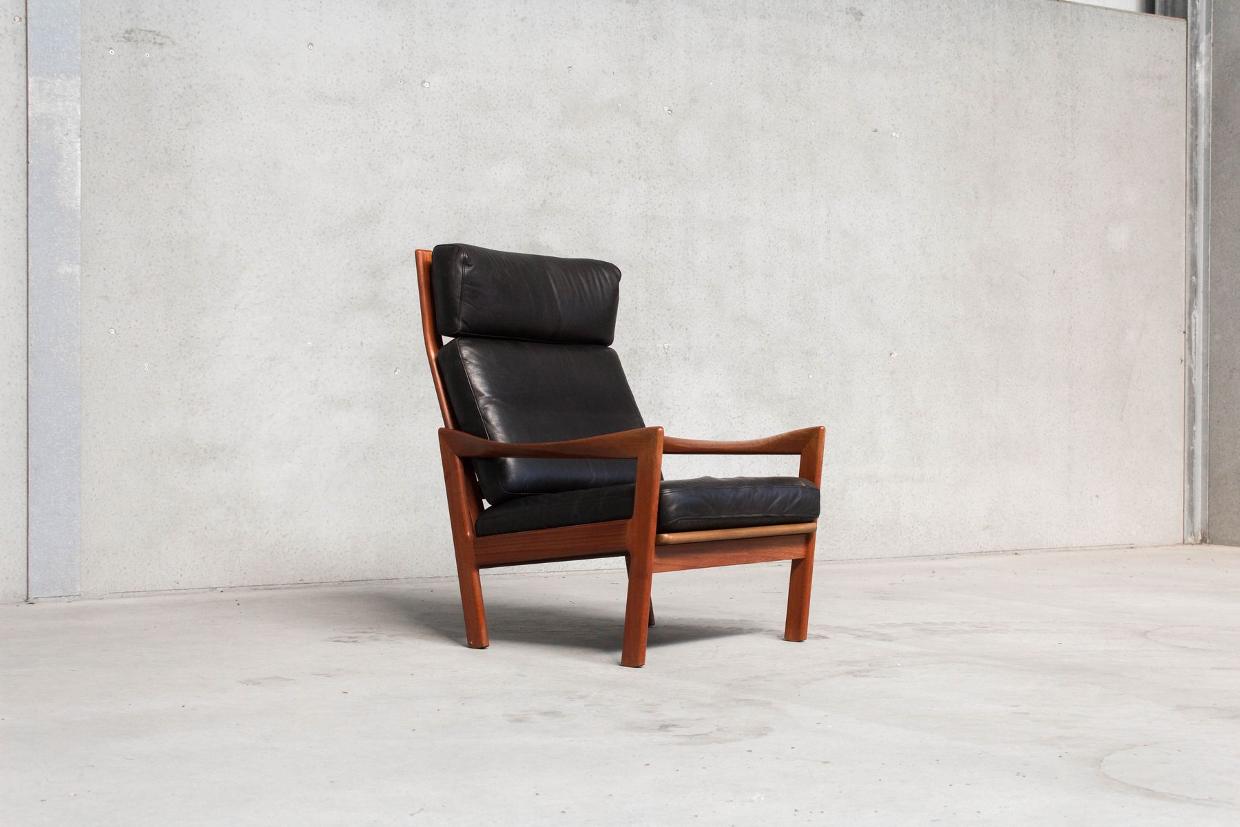 Vintage Danish Lounge Chair & Footstool By Ilum Wikkels For