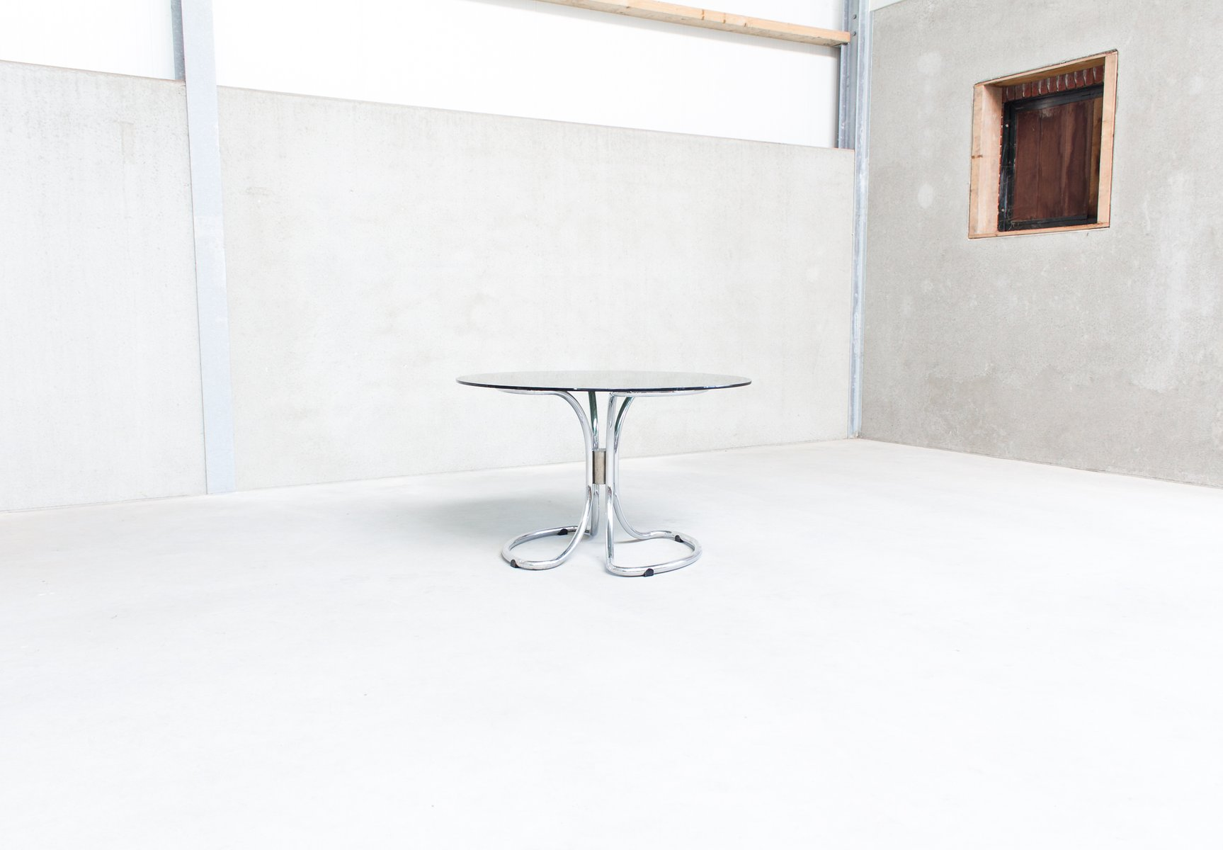 Vintage Italian Chrome & Smoked Glass Dining Table By Giotto