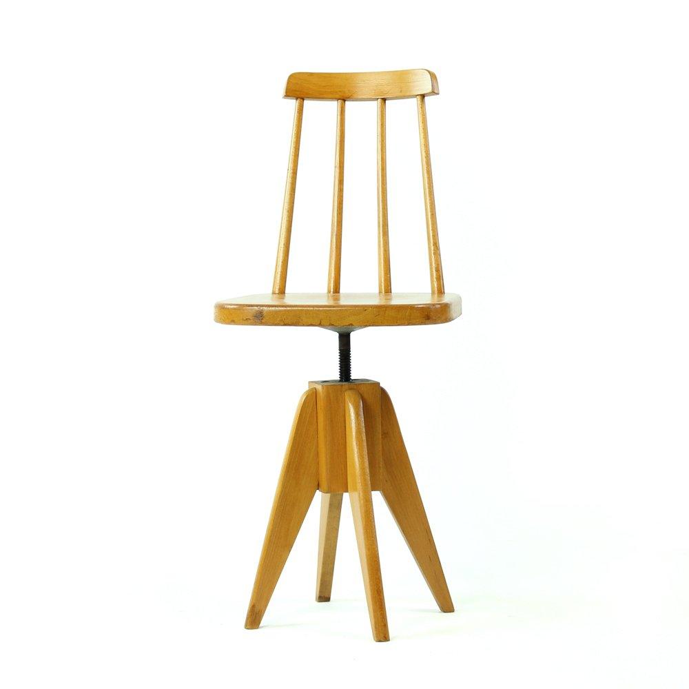 Czechoslovakian Wooden Swivel Piano Stool With Backrest