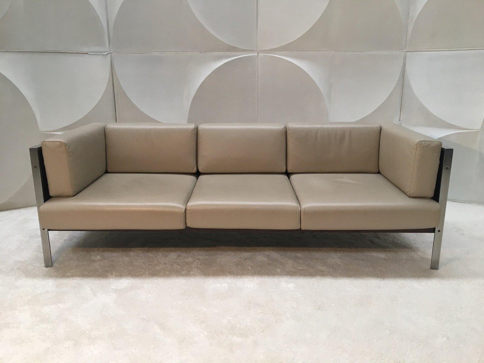 Vintage Leather & Wood Sofa