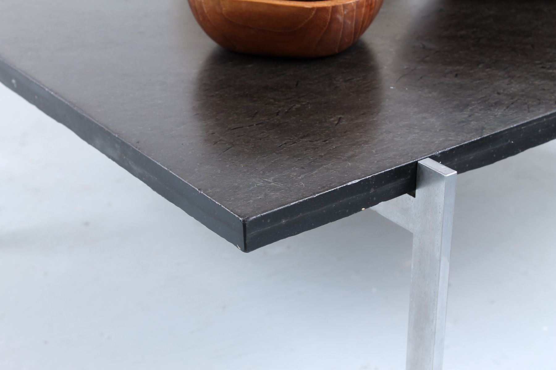 Pk 61 Coffee Table In Dark Stone By Poul Kjaerholm