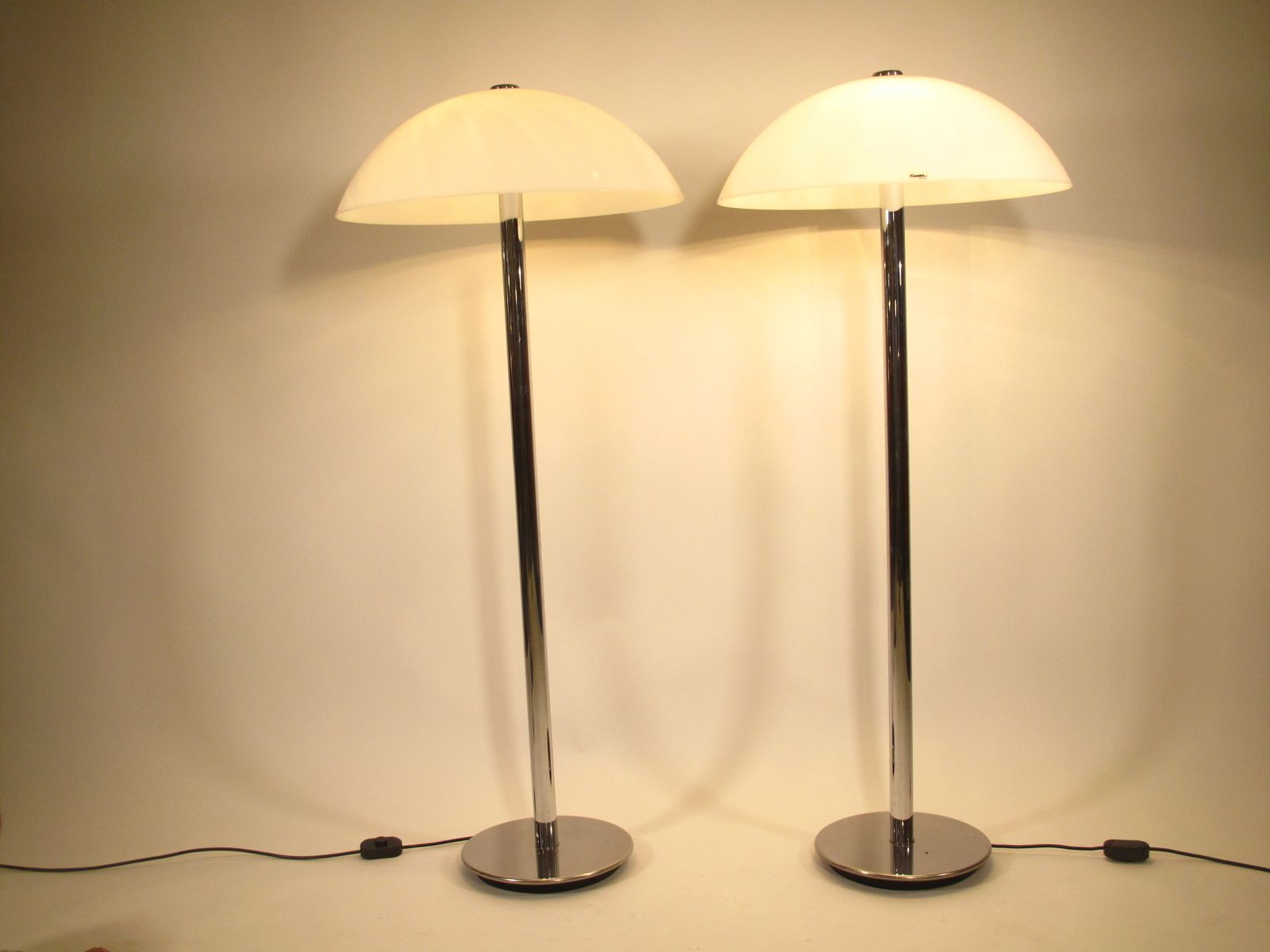 Chromed Perspex Floor Lamps From Guzzini, 1980S, Set Of 2