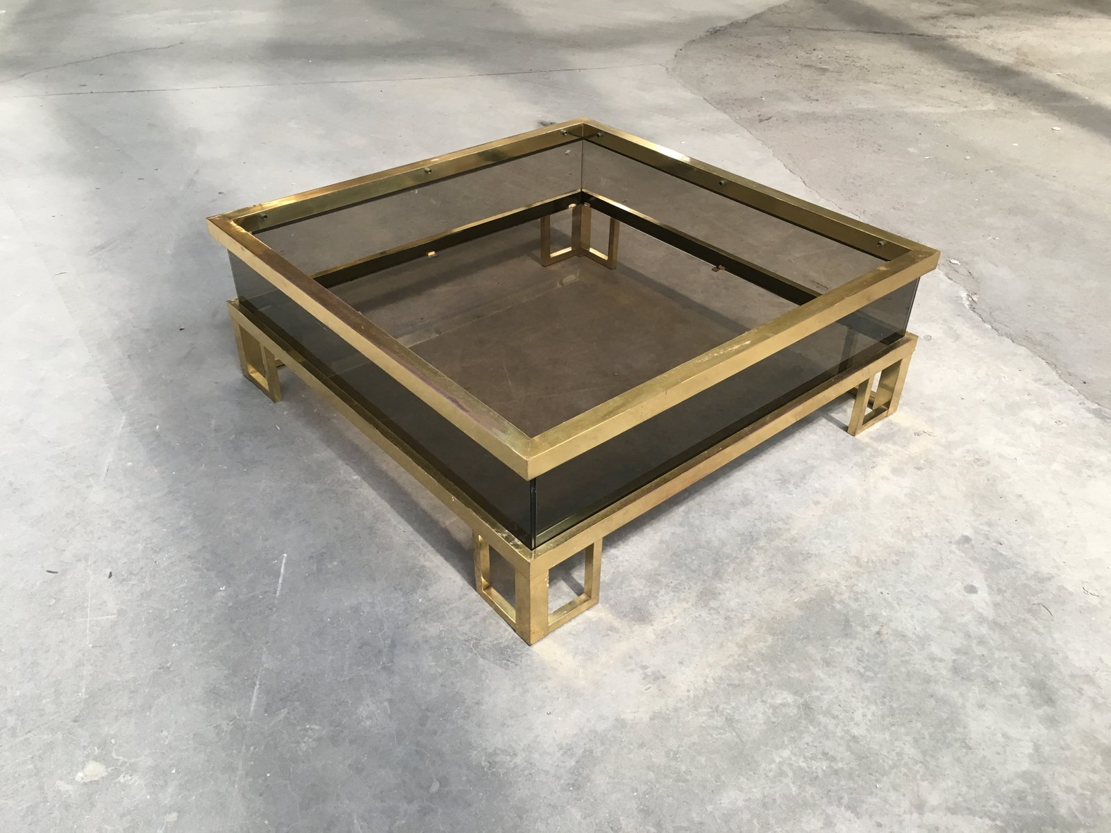 Vintage French Brass Coffee Table With Sliding Glass Top