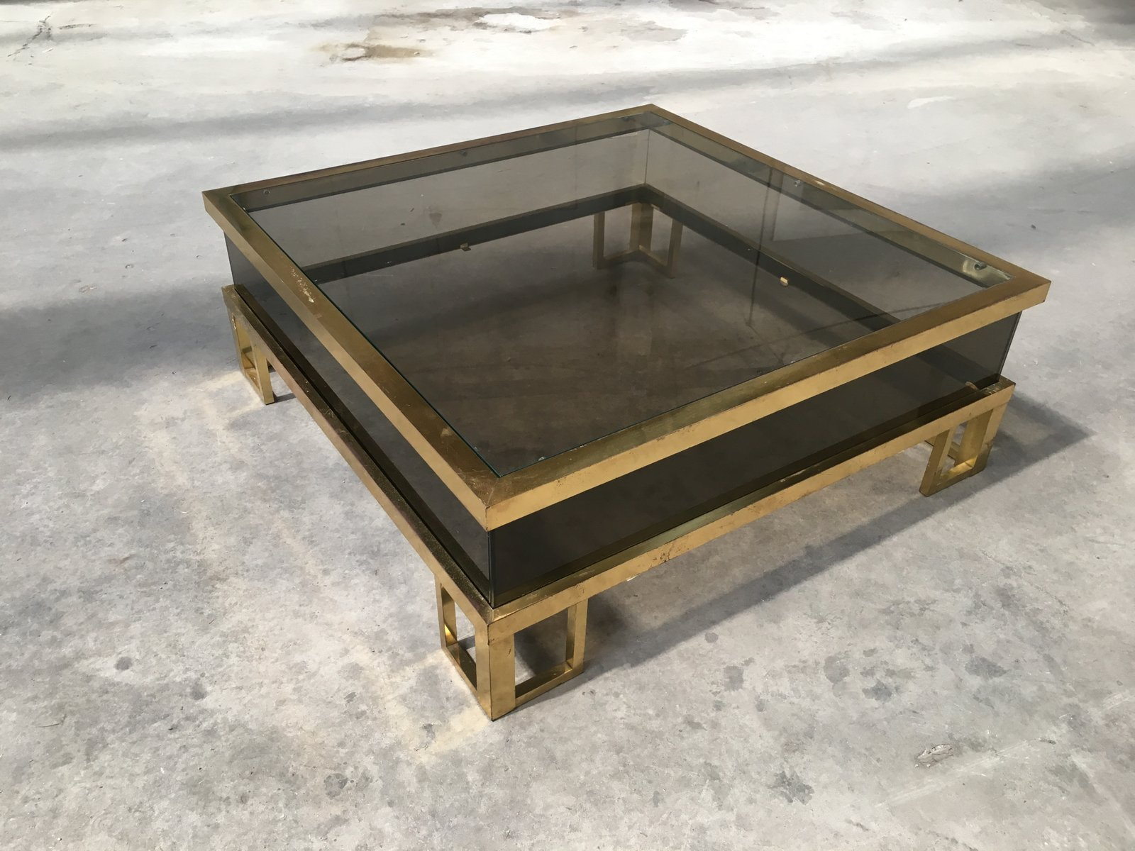 Vintage French Brass Coffee Table With Sliding Glass Top 12