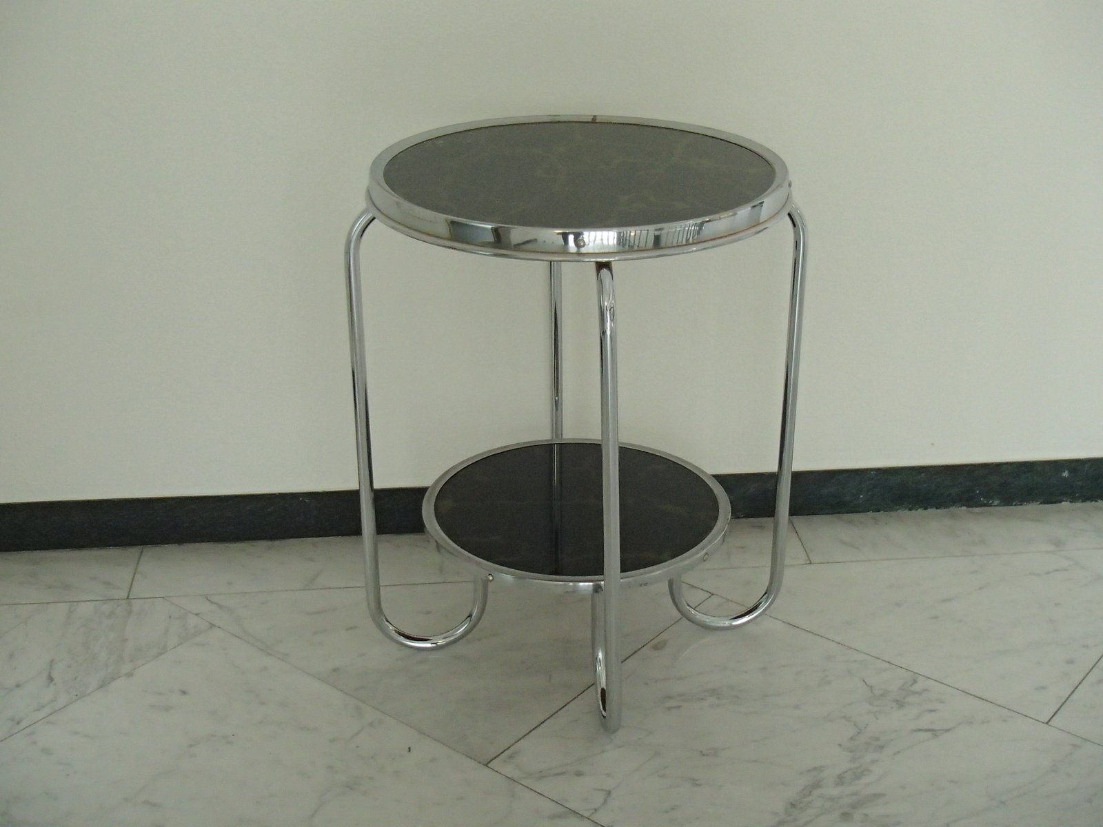 Vintage Chrome Side Table With Marbled Glass Top