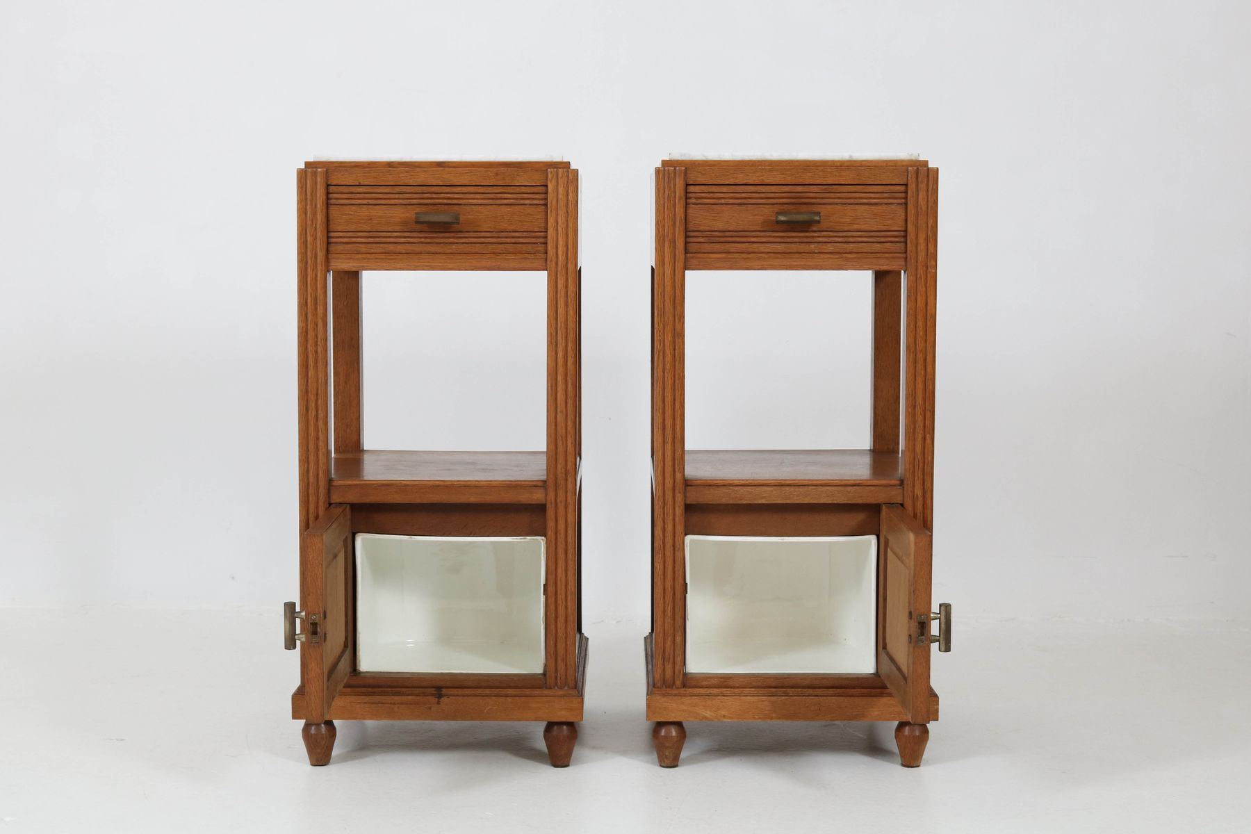 French Art Deco Nightstands In Oak With Marble Tops, 1930S,