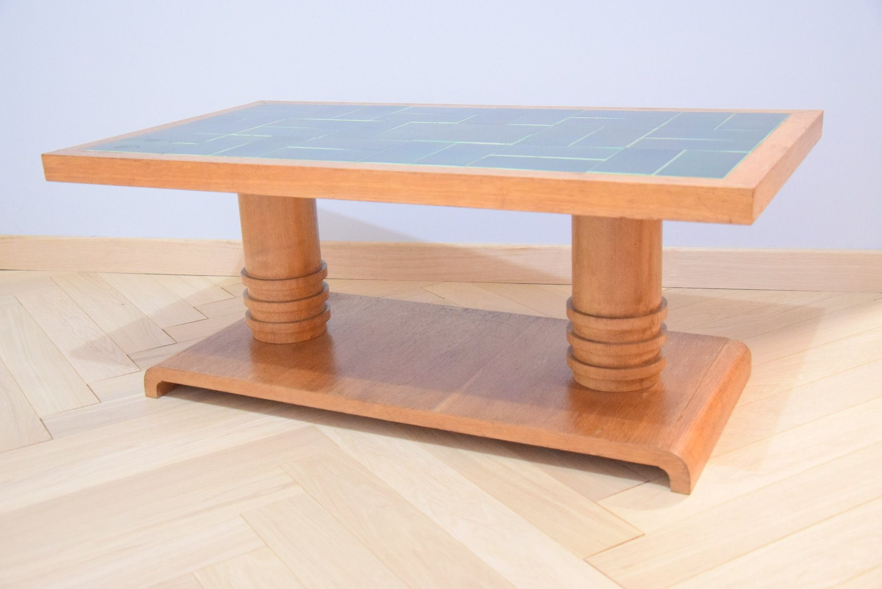 Vintage Coffee Table In Light Oak By Guillerme Et Chambron