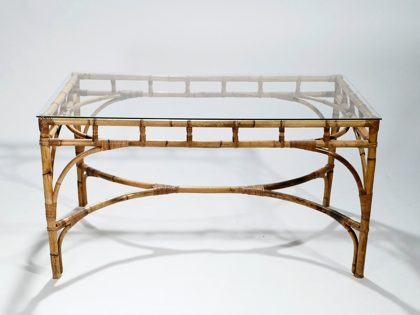 Bamboo And Rattan Hollywood Regency Table, 1970S