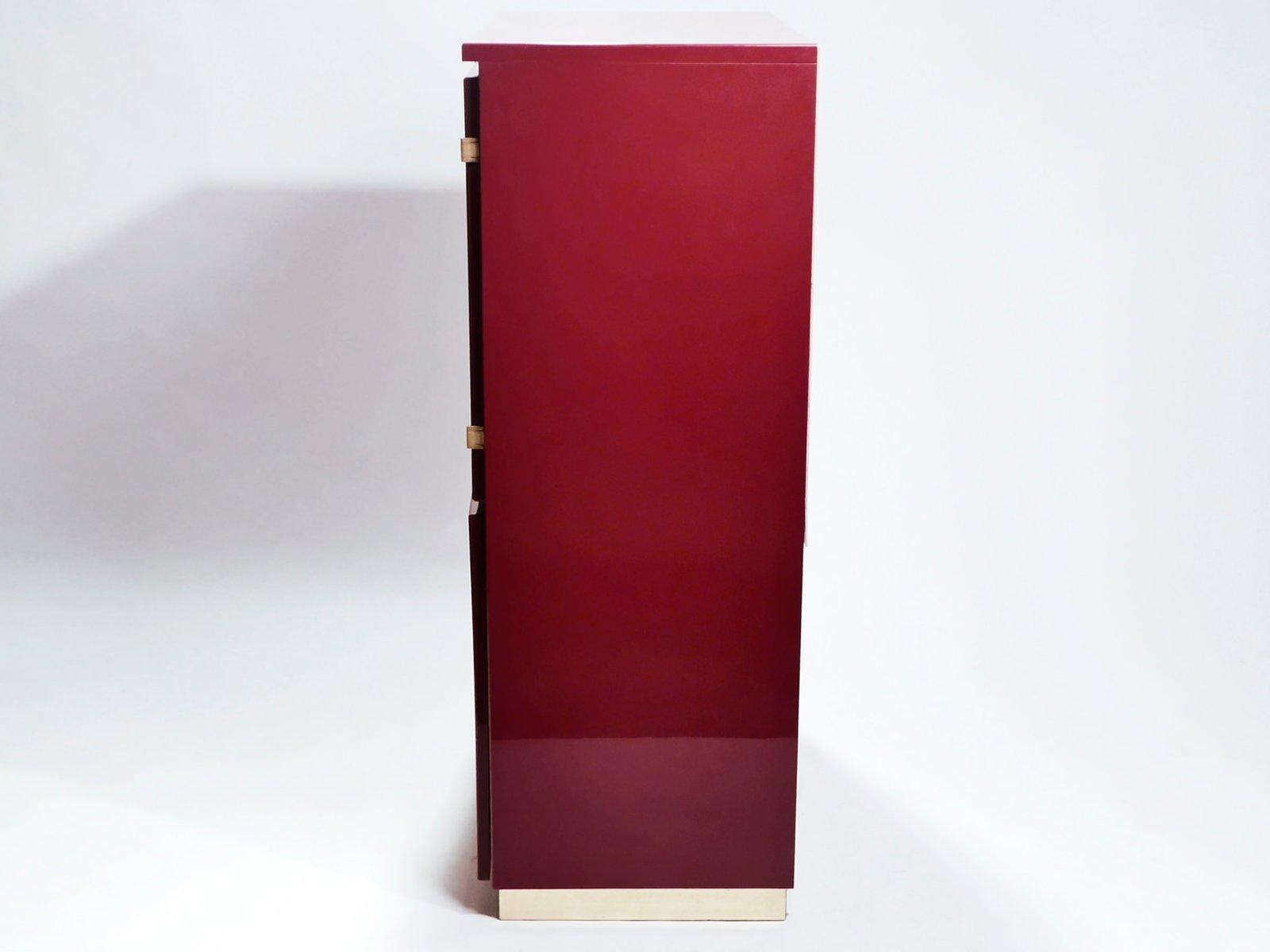 Roter lackierter Messing Schrank von Jean Claude Mahey für Maison ...