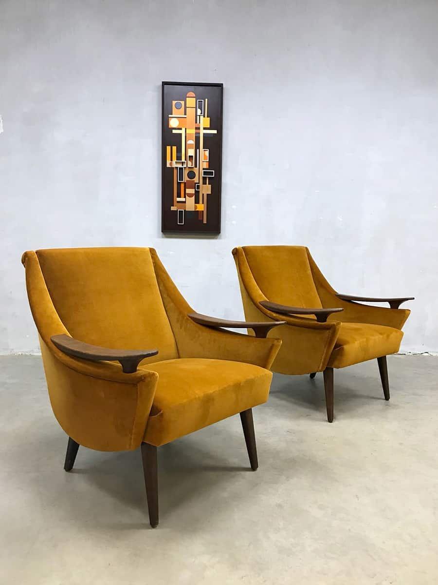 Mid Century Modern Velvet Armchairs, Set Of 2
