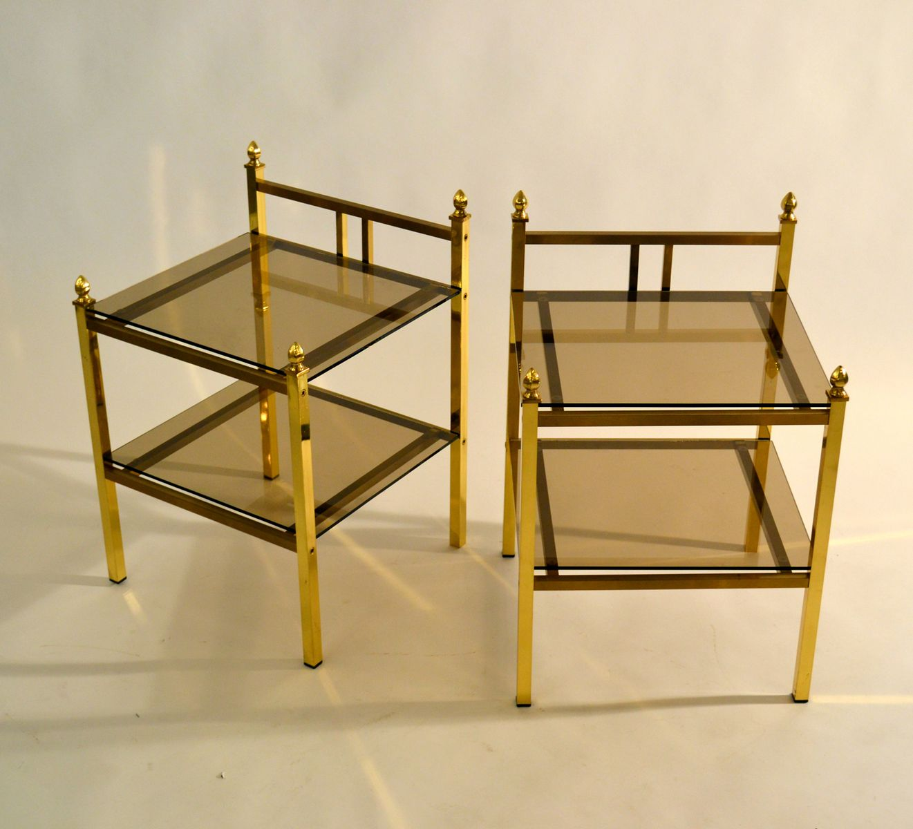 Brass Side Tables with Glass Shelves, 1970s, Set of 2 for sale at Pamono