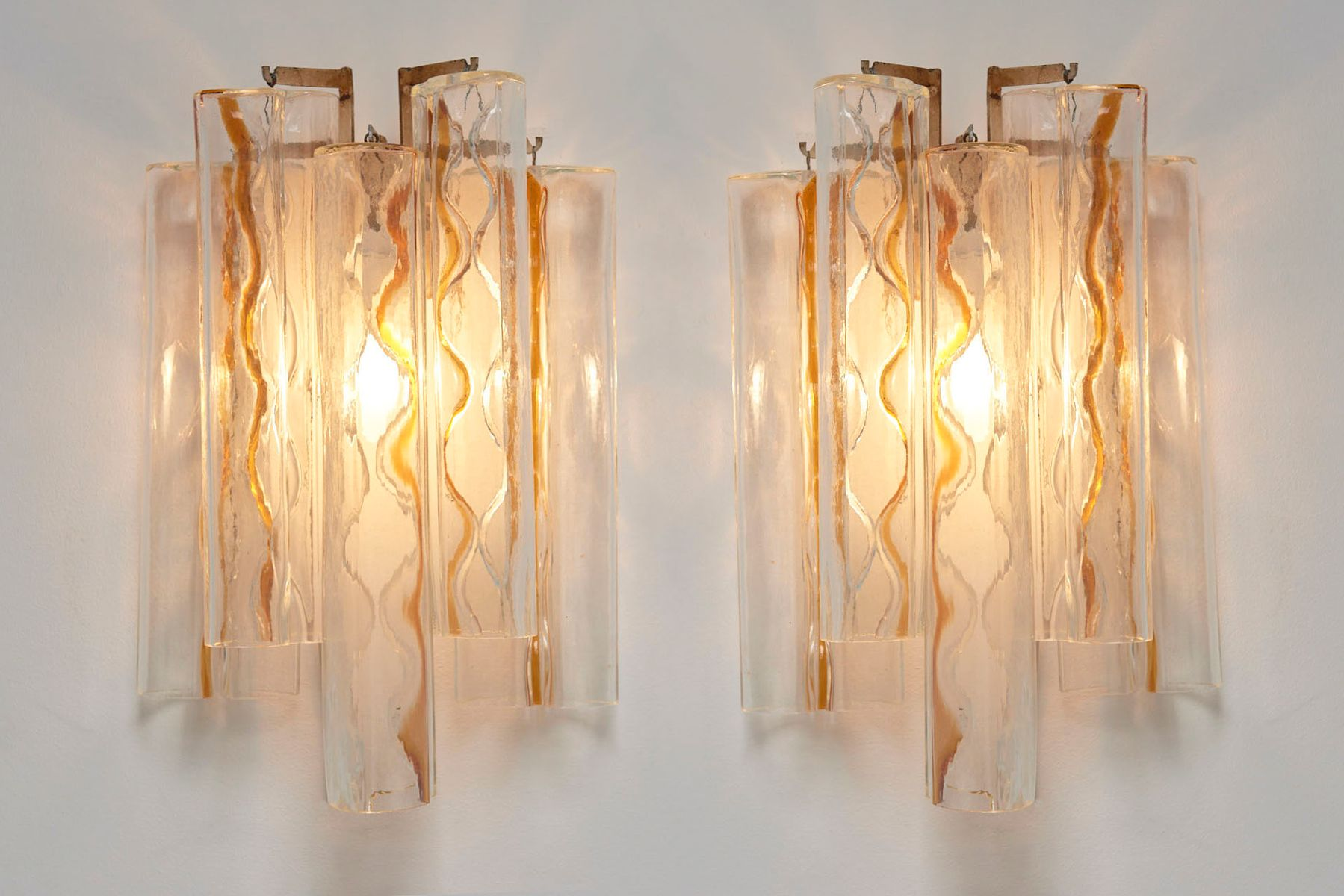 Bow Shaped Murano Glass Wall Sconces by Toni Zuccheri for Venini ...