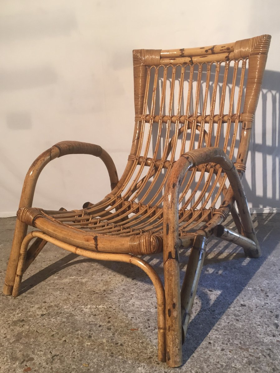 Large French Bamboo & Rattan Armchair, 1960s
