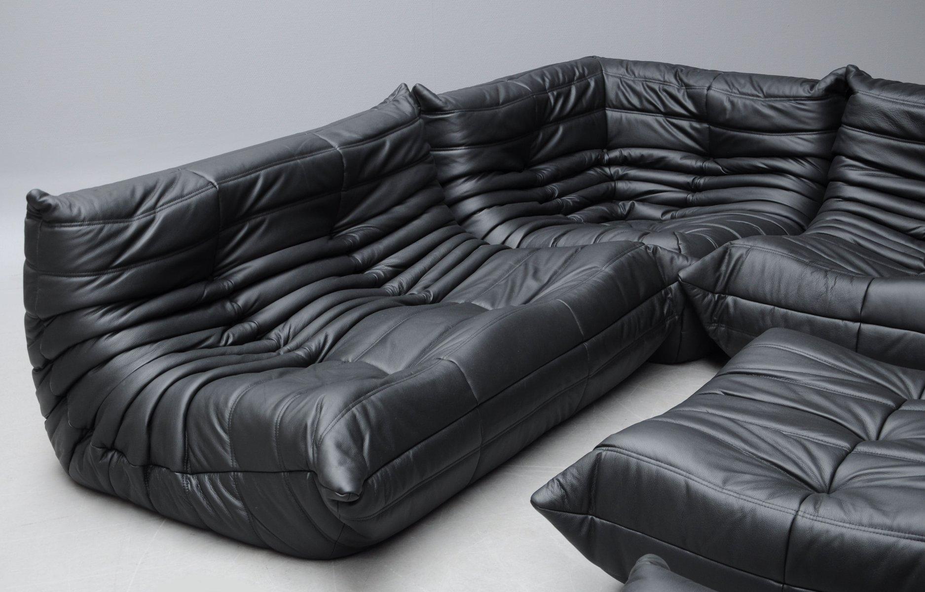 Vintage Black Leather Togo Sofa Set by Michel Ducaroy for Ligne ...
