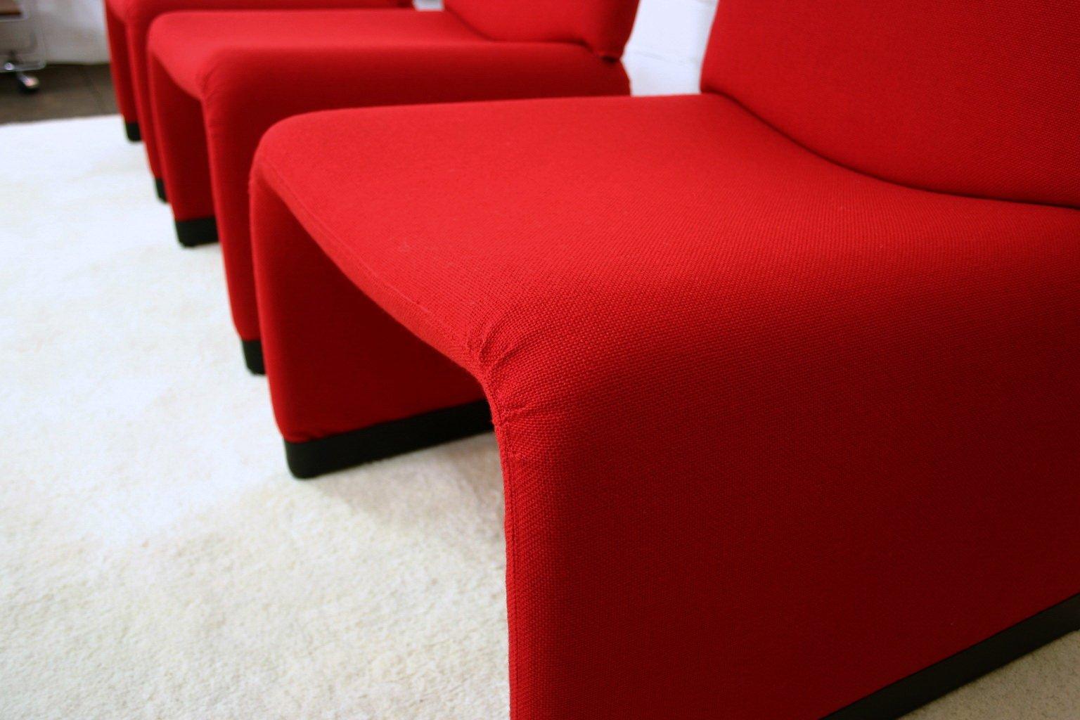 roter lounge sessel mit hopsak bezug von giancarlo piretti f r castelli bei pamono kaufen. Black Bedroom Furniture Sets. Home Design Ideas