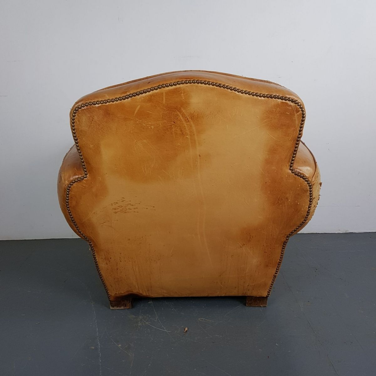 Amazing Vintage French Leather Club Chair
