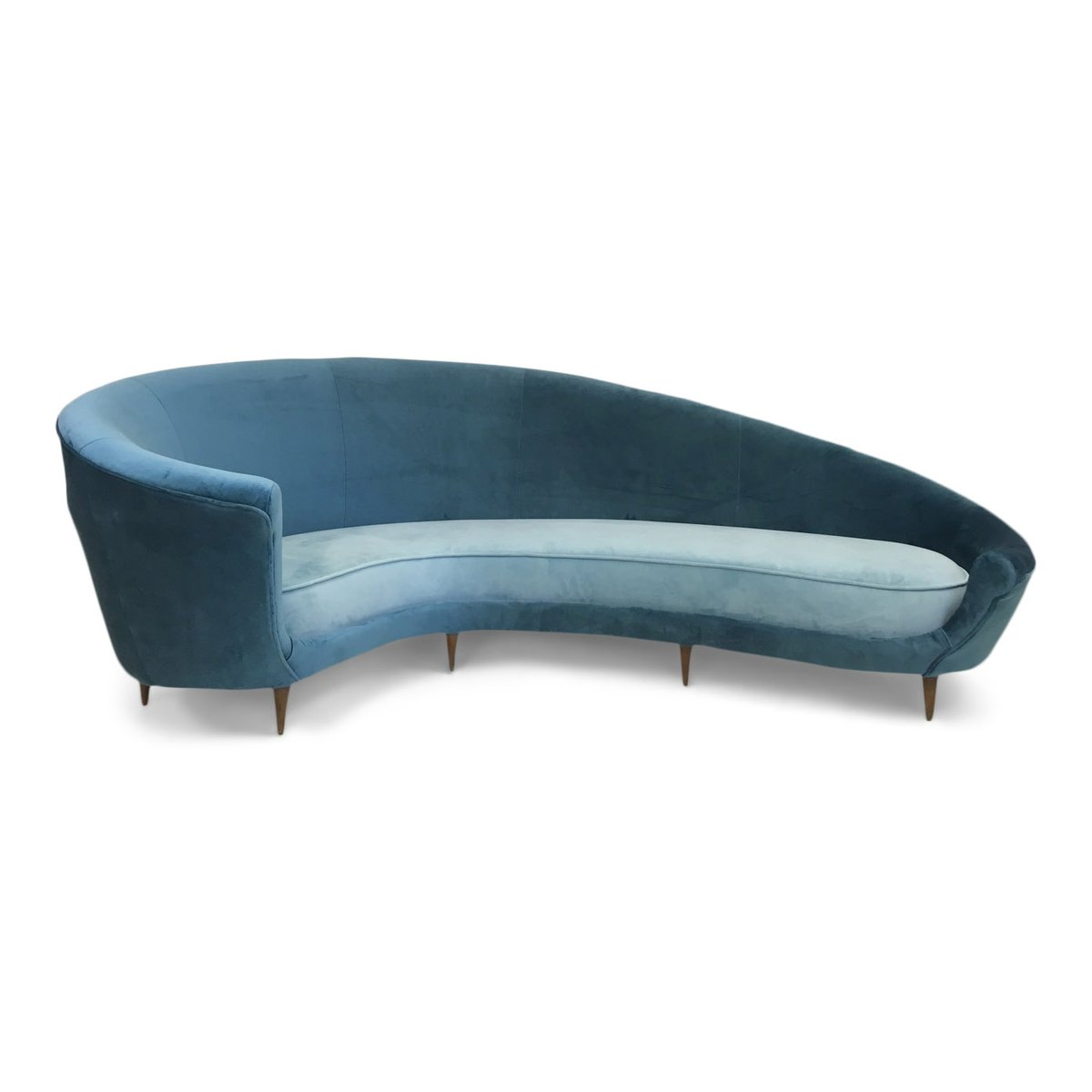 italienisches gebogenes sofa aus samt 1950er bei pamono kaufen. Black Bedroom Furniture Sets. Home Design Ideas