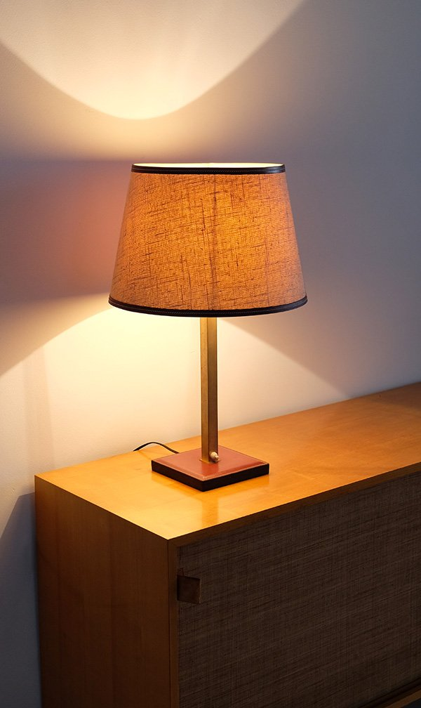 Leather Trim Table Lamp by Delvaux, 1960 for sale at Pamono