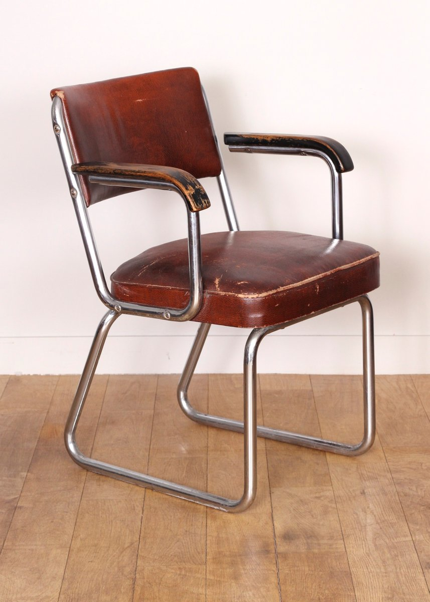 French faux leather office chair 1930 for sale at pamono for Chair design 1930