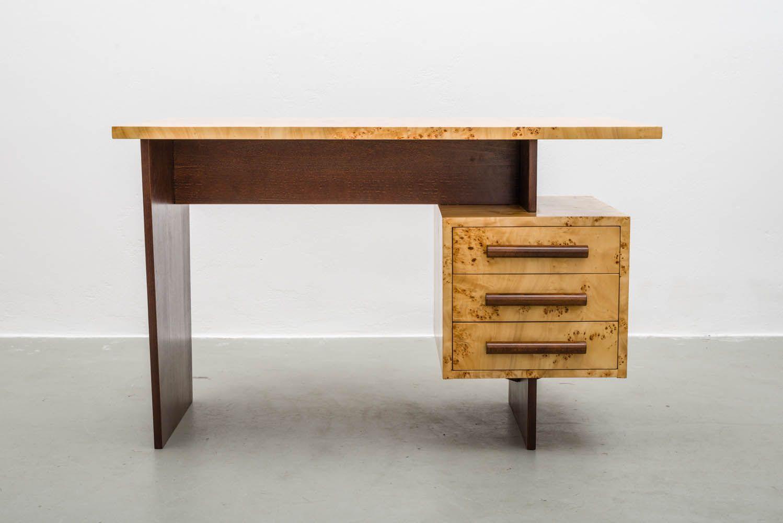 freistehender mid century schreibtisch aus furniertem birkenholz 1950er bei pamono kaufen. Black Bedroom Furniture Sets. Home Design Ideas