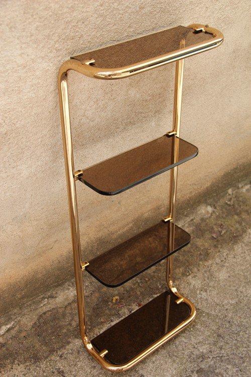 Gilded Brass & Glass Shelf for sale at Pamono