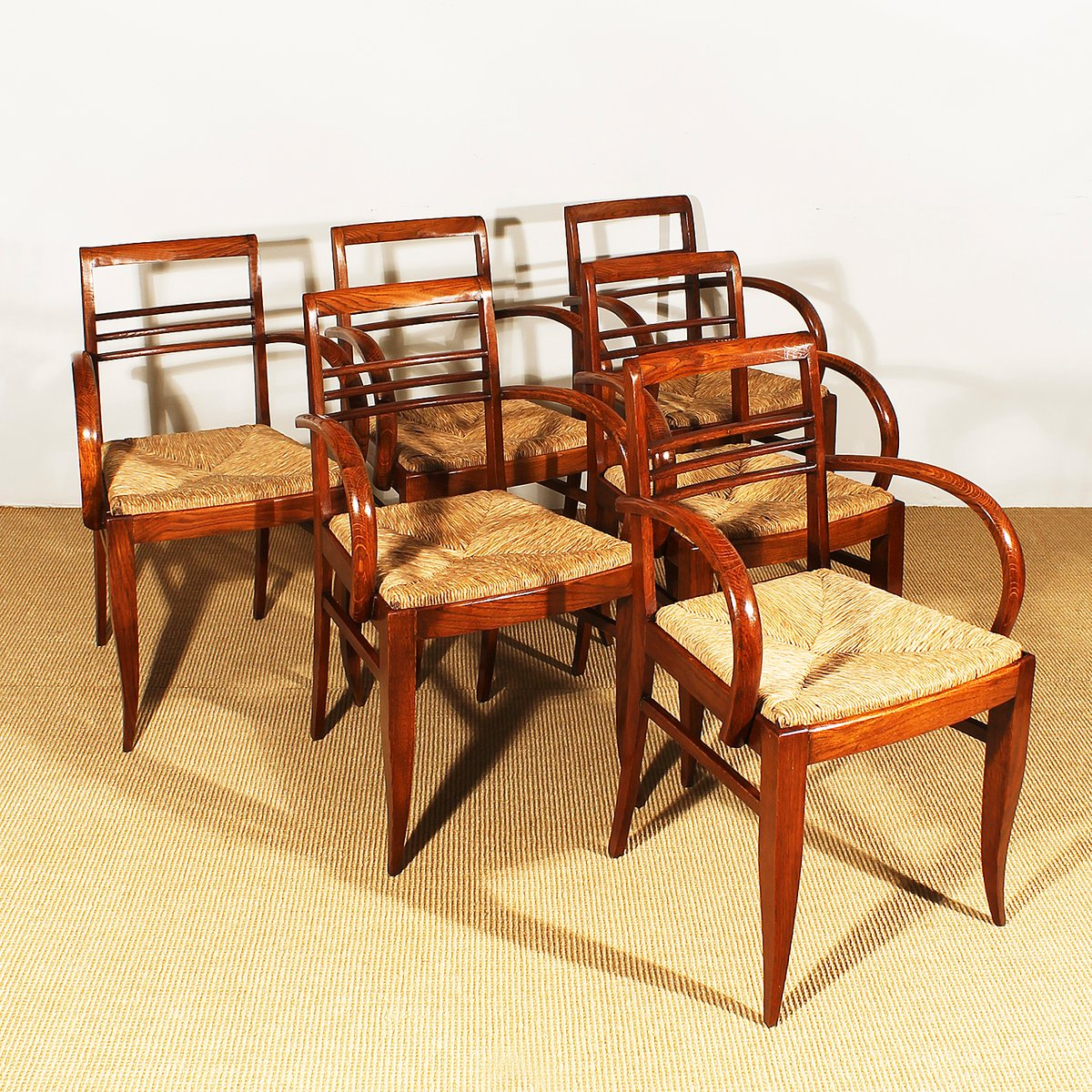 art deco furniture. Art Deco Bridge Chairs In Oak And Straw, 1930s, Set Of 6 Furniture