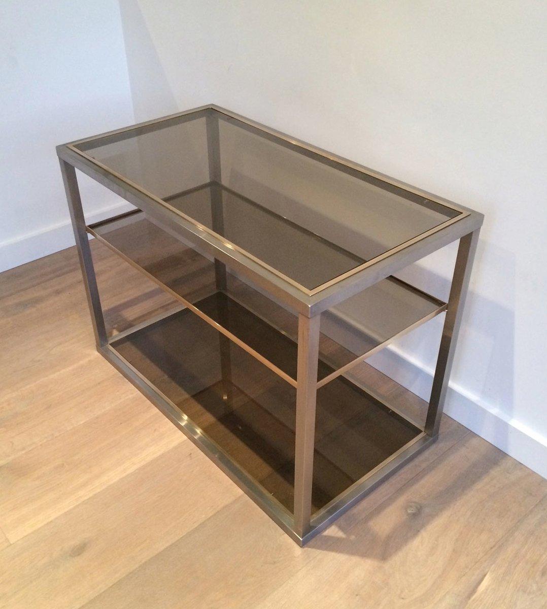konsolentisch aus geb rstetem metal und glas 1970er bei pamono kaufen. Black Bedroom Furniture Sets. Home Design Ideas