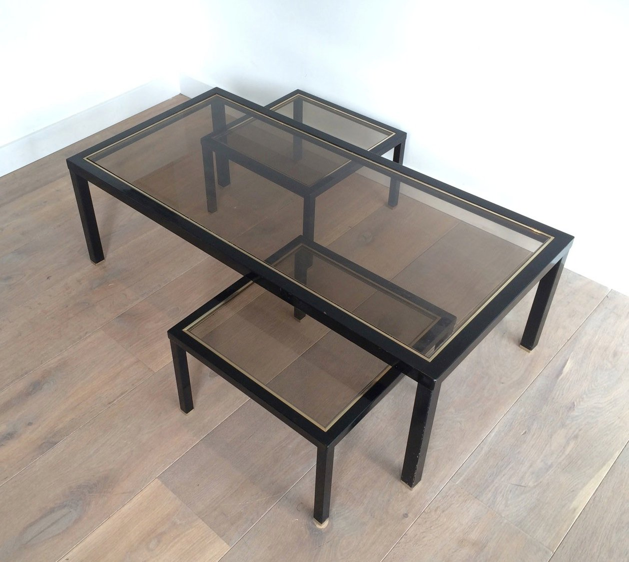 Brass coffee table with pair of side tables set of 3 for for Coffee table side