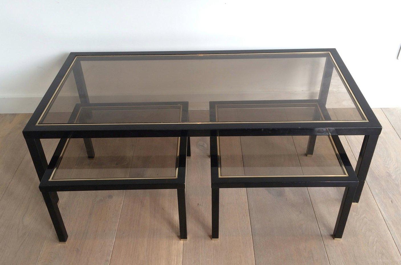 messing couchtisch mit beistelltischen 3er set bei pamono kaufen. Black Bedroom Furniture Sets. Home Design Ideas