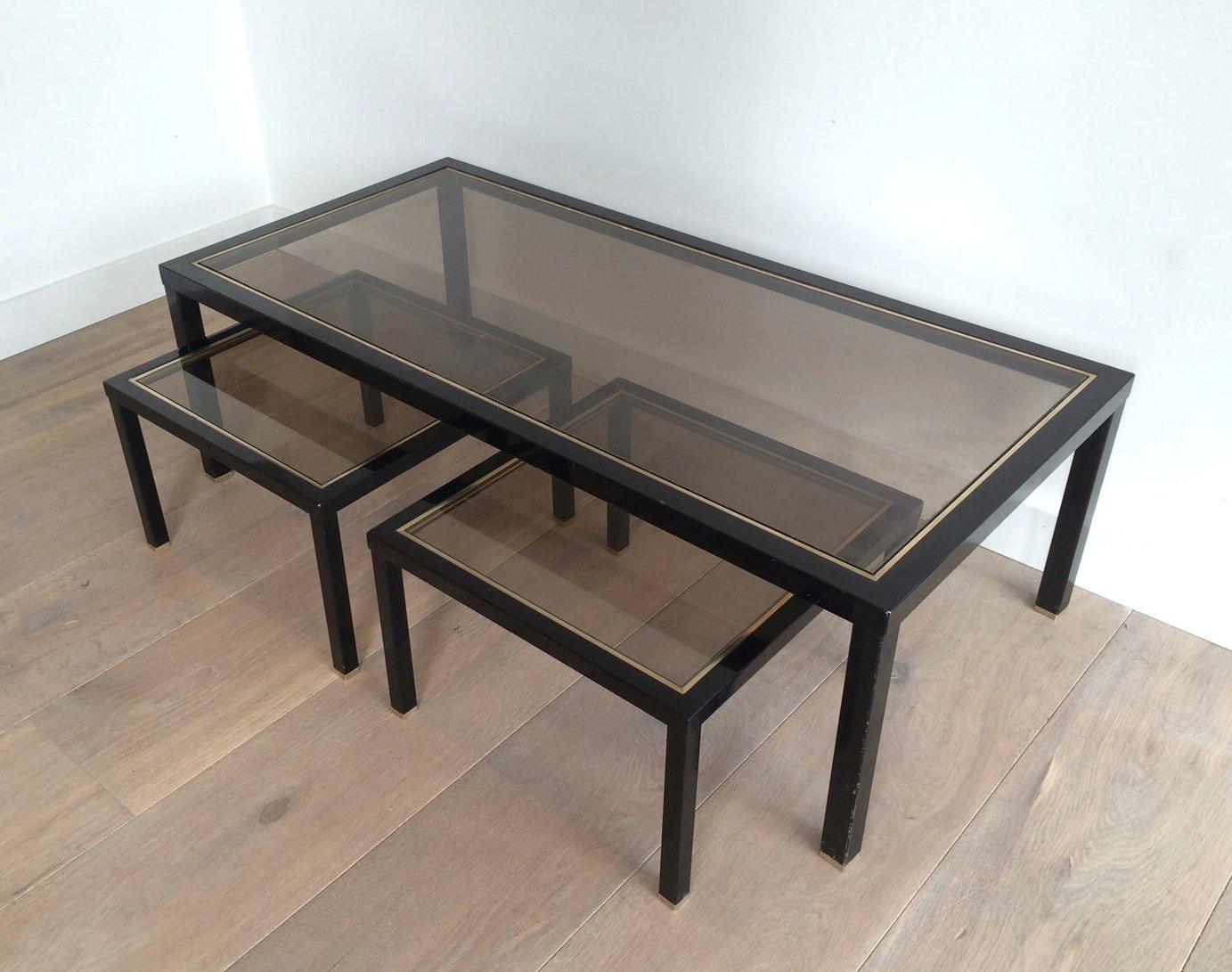 messing couchtisch mit beistelltischen 3er set bei pamono. Black Bedroom Furniture Sets. Home Design Ideas