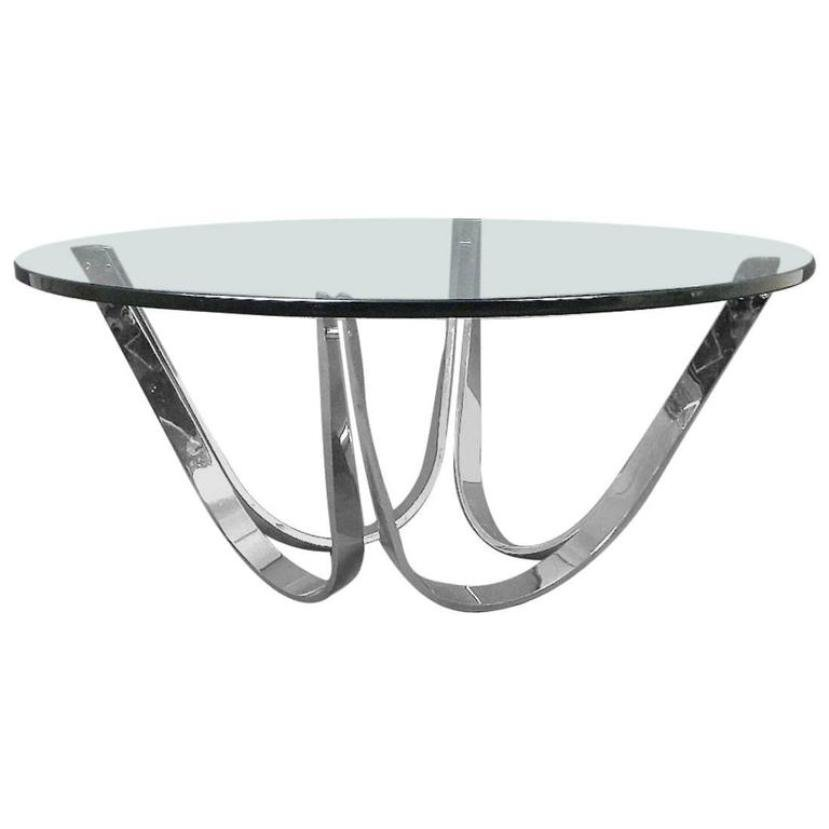 Vintage Glass Coffee Tables: Vintage Chrome And Glass Coffee Table By Roger Sprunger