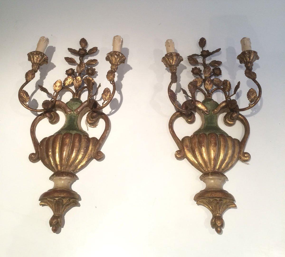 aus holz geschnitzte vergoldete vintage wandleuchten italien 2er set bei pamono kaufen. Black Bedroom Furniture Sets. Home Design Ideas
