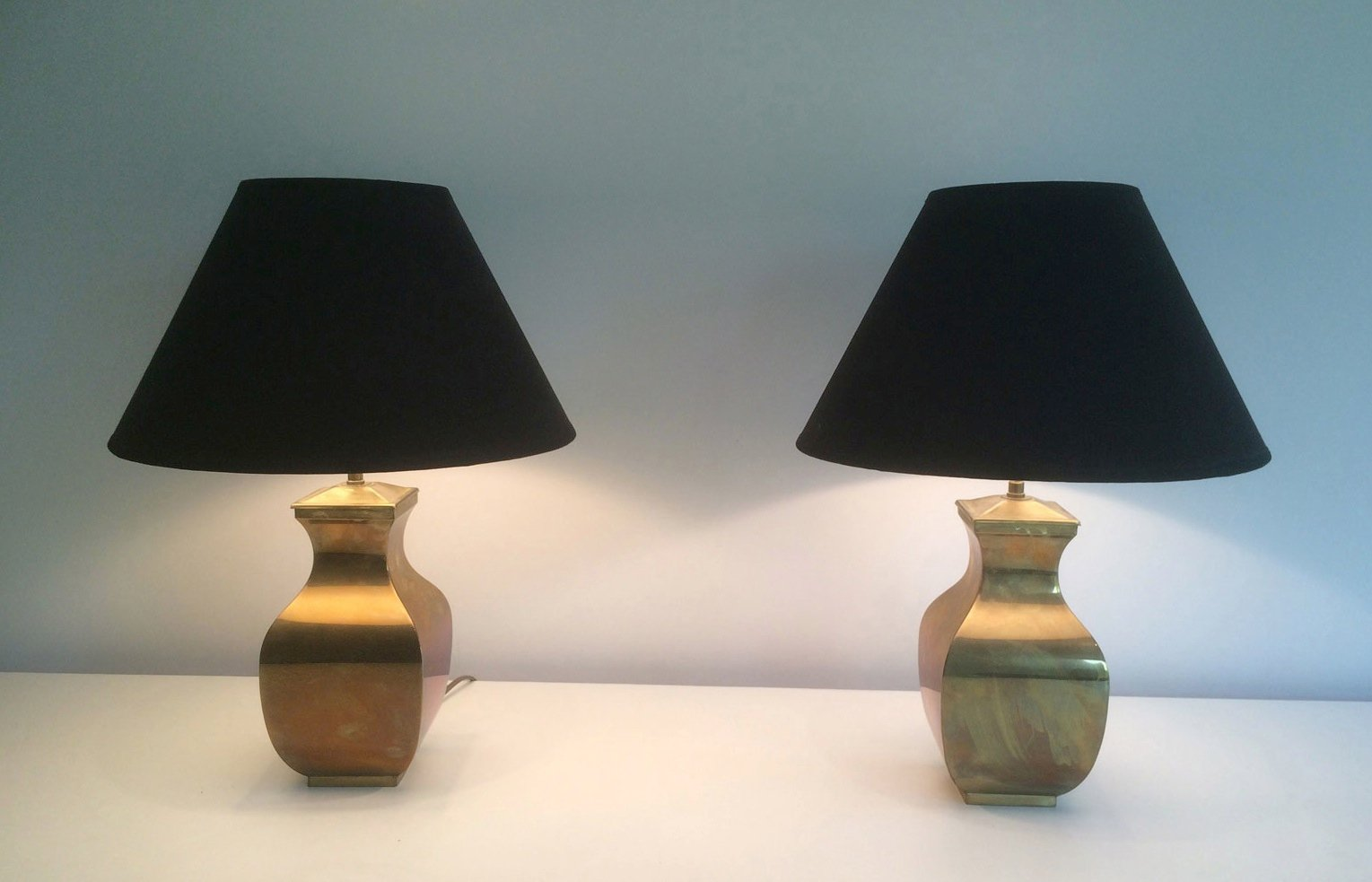 Great Post Modern Brass Table Lamps, Set Of 2