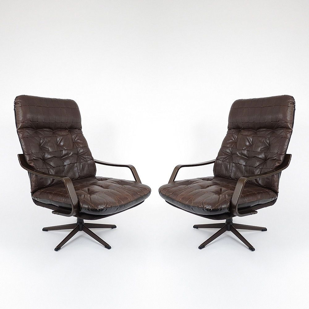 d nische vintage leder und holz lounge st hle 2er set bei pamono kaufen. Black Bedroom Furniture Sets. Home Design Ideas