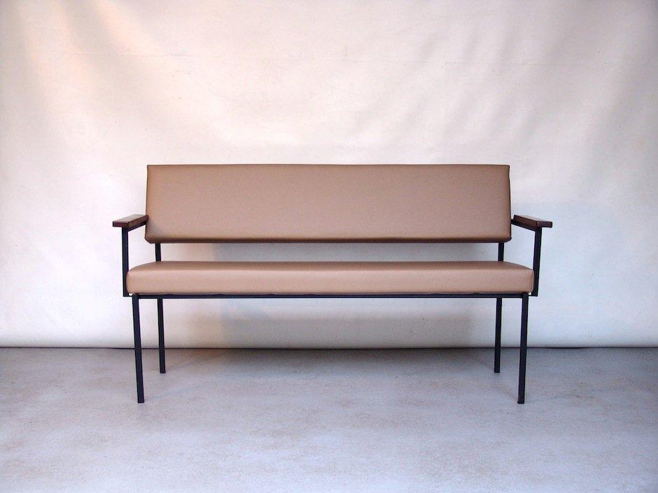 Vintage Beige Vinyl Sofa Bench