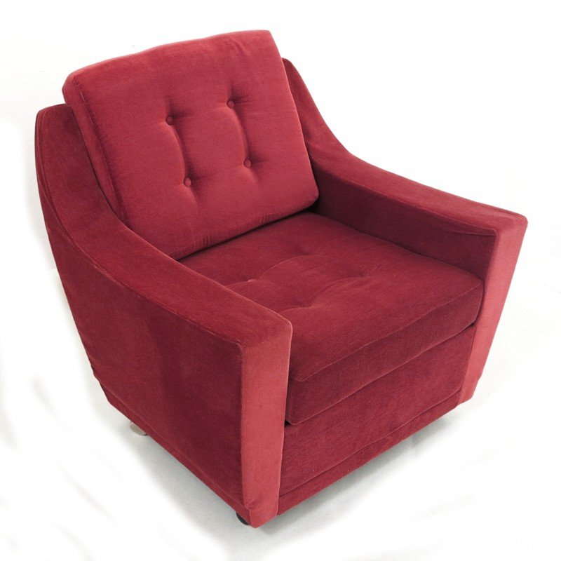 Vintage Red Corduroy Armchair