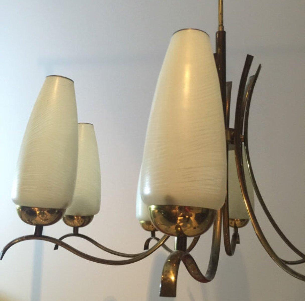 italienischer vintage messing milchglas kronleuchter bei. Black Bedroom Furniture Sets. Home Design Ideas