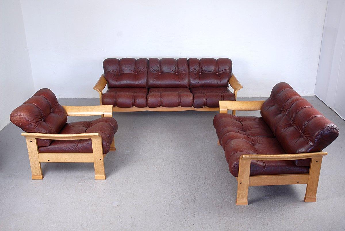 Vintage Danish Brown Leather 3 Piece Sofa Set