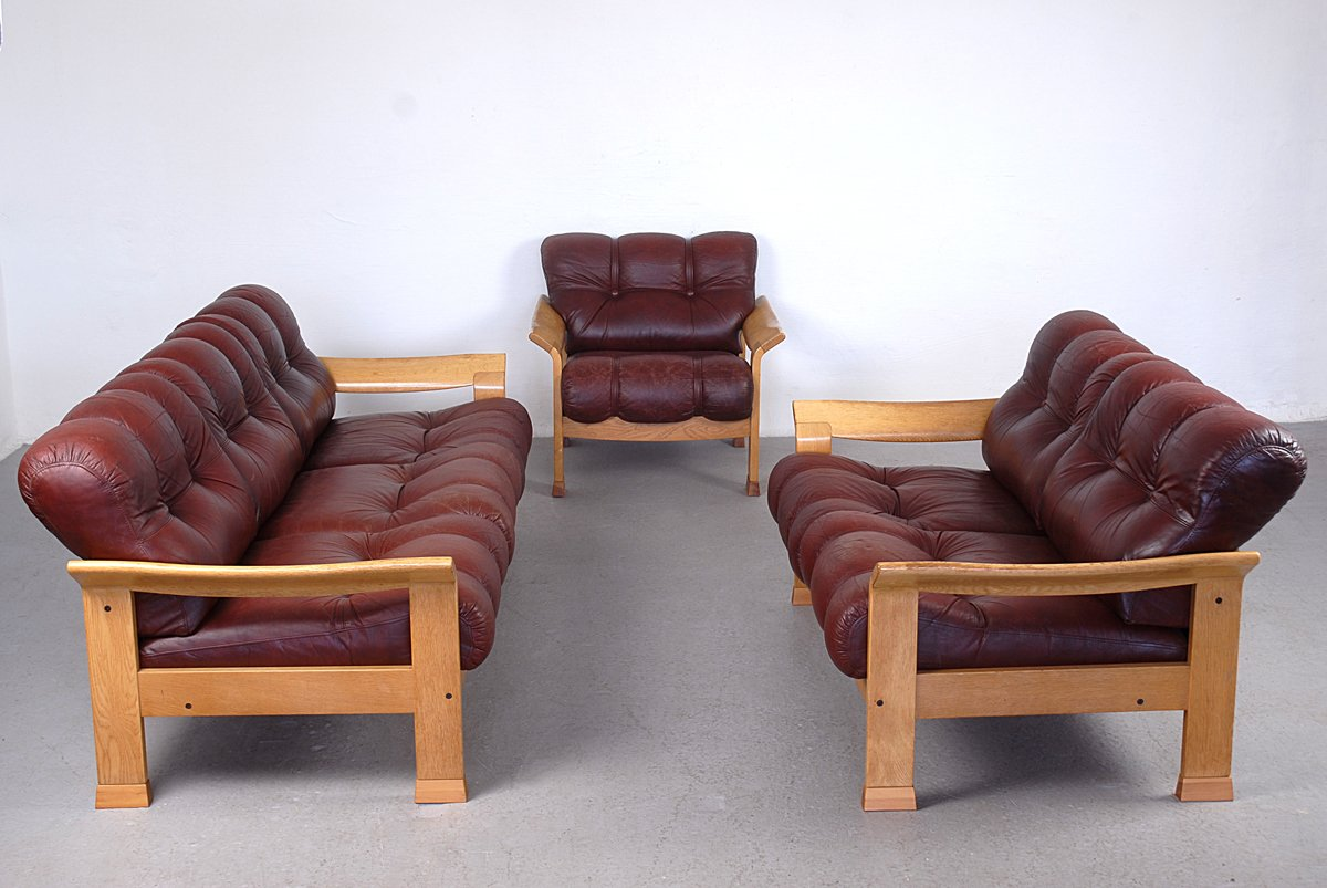 Vintage danish brown leather 3 piece sofa set for sale at for Eurodesign brown leather 5 piece sectional sofa set