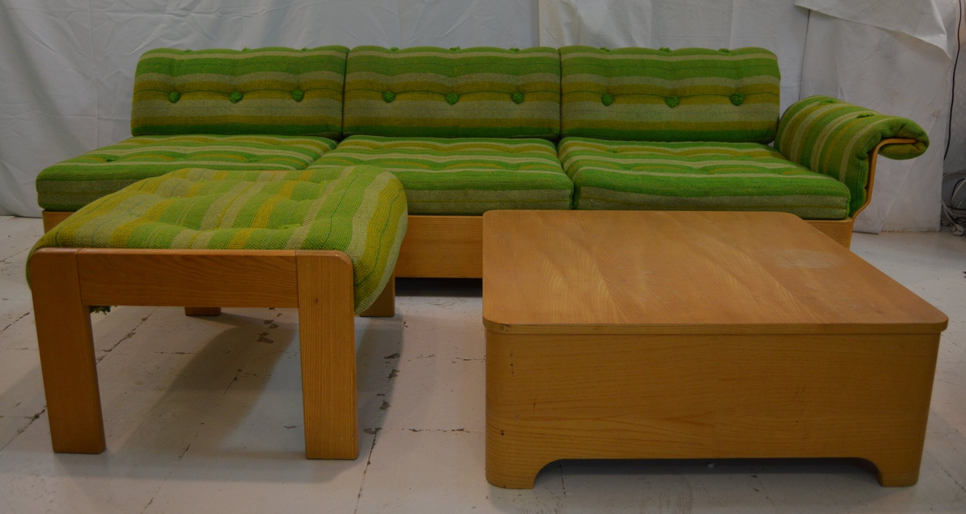 Vintage Swedish 3 Seater Sofa With Side Table U0026 Footrest For Sale At Pamono