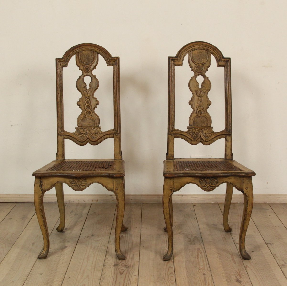 Lovely Antique Swedish Baroque Chairs, Set Of 2