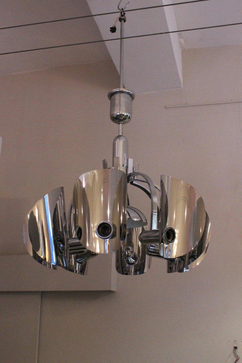 italienische verchromte vintage deckenlampe bei pamono kaufen. Black Bedroom Furniture Sets. Home Design Ideas
