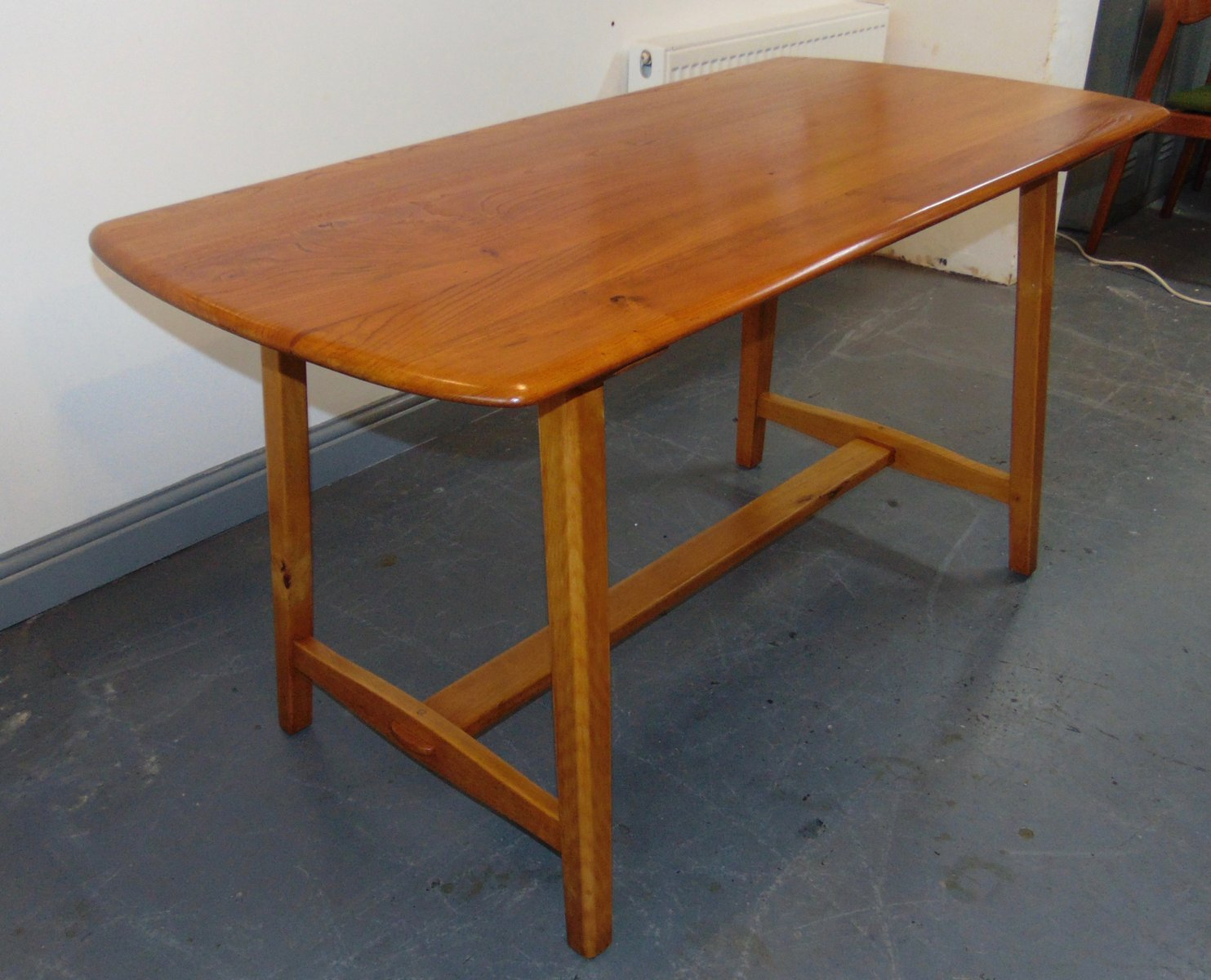 Elm Trestle Dining Table From Ercol,1950s